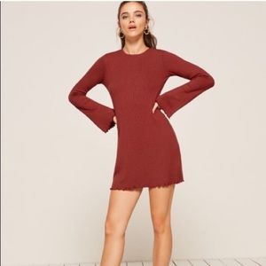 Reformation Rust Knit Luca Dress